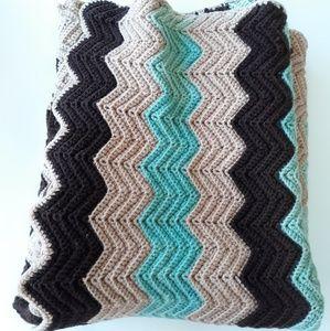 Vintage Mocha Mint Chevron Throw Blanket